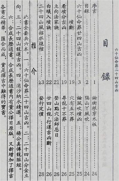 六十仙命葬二十四山吉凶(古本)